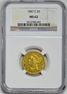 Click now to see the BUY IT NOW Price! 1847 C LIBERTY $5 NGC MS 62