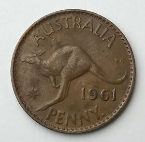DATED : 1961   AUSTRALIA   ONE PENNY   COIN   QUEEN ELIZABETH II