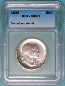 1926 MS 61  SESQUICENTENNIAL AMERICAN INDEPENDENCE COMMEMORATIVE SESQUI HALF