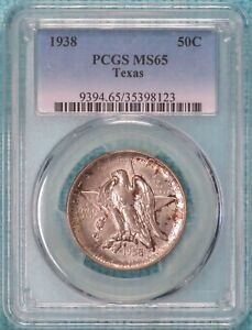 1938 P MS 65 TEXAS INDEPENDENCE CENTENNIAL SILVER COMMEM HALF ONLY 3 780 MINTED
