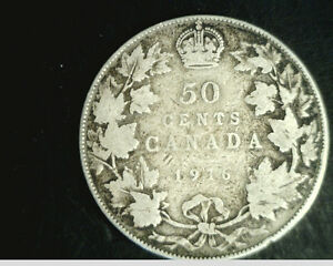 1916  CANADA HALF DOLLAR  MEDIUM GRADE .3469 OZ SILVER    CAN 168