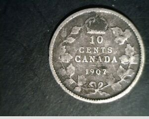 1907 CANADA TEN CENTS LOW TO MEDIUM GRADE CIR .0691 OZ SLV  CAN 627