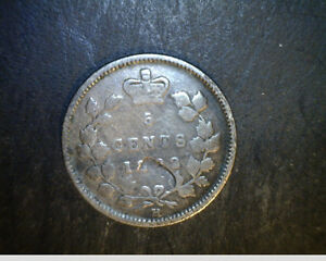 1882 H CANADA 5 CENTS LOW TO MEDIUM GRADE .0346  OZ SILVER  CAN 447