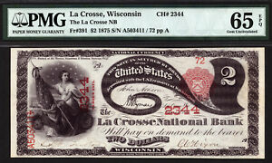 Click now to see the BUY IT NOW Price! $2 1875 LA CROSSE NATIONAL BANK WISCONSIN CH 2344 PMG 65 EPQ GEM LAZY DEUCE