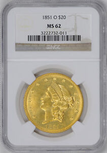 Click now to see the BUY IT NOW Price! 1851 O LIBERTY HEAD $20 NGC MS 62