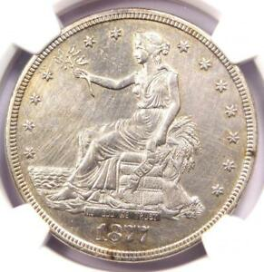 1877 S TRADE SILVER DOLLAR T$1   CERTIFIED NGC AU DETAILS    CERTIFIED COIN