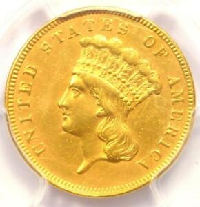1859 THREE DOLLAR INDIAN GOLD COIN $3   CERTIFIED PCGS AU DETAILS    DATE