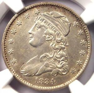 1834 CAPPED BUST QUARTER 25C   NGC AU DETAILS    EARLY DATE COIN IN AU