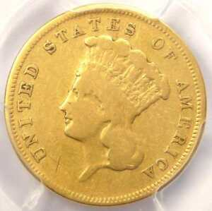 1856 S THREE DOLLAR INDIAN GOLD COIN $3   CERTIFIED PCGS VG DETAILS    DATE