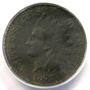 1877 INDIAN CENT 1C COIN   ANACS F12 DETAILS    KEY DATE   CERTIFIED PENNY