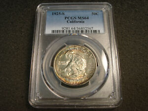 Click now to see the BUY IT NOW Price! 1925 S CALIFORNIA DIAMOND JUBILEE COMMEM HALF DOLLAR PCGS MS64 RAINBOW TONING