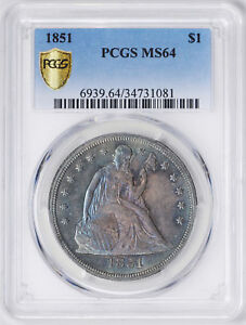 Click now to see the BUY IT NOW Price! 1851 LIBERTY SEATED S$1 PCGS MS 64