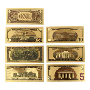 7PCS GOLD FOIL BILL PAPER MONEY USA DOLLARS COLLECTION BANKNOTES CURRENCY SET