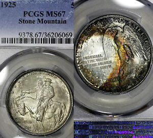 Click now to see the BUY IT NOW Price! 1925 P MS67 STONE MOUNTAIN SILVER COMMEMORATIVE 50C PCGS GRADED COLORFUL TONED
