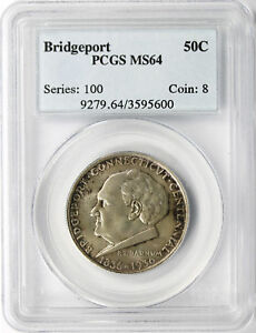 1936 BRIDGEPORT 50C HALF DOLLAR PCGS MS64