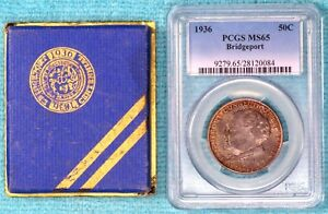 1936 MS 65 BRIDGEPORT & BOX CONNECTICUT COMMEMORATIVE HALF ONLY 25 015 MINTED