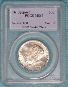 1936 MS 67 BRIDGEPORT CONNECTICUT CLASSIC COMMEMORATIVE HALF 25 015MINTED SILVER