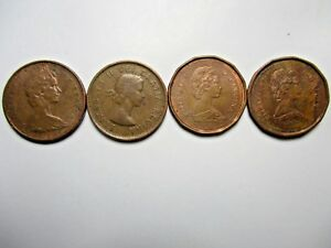 1961 1976 AND  2  1987 CANADIAN ONE CENT   MAPLE LEAF   ELIZABETH II PENNY LOT