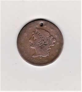2 HOLED LARGE PENNYS 1839 1835