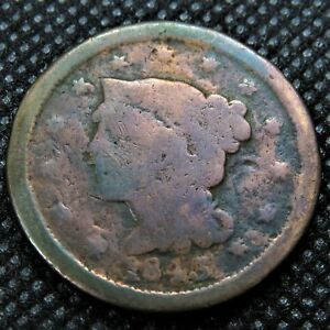 1845 BRAIDED HAIR LARGE CENT. READABLE DATE.