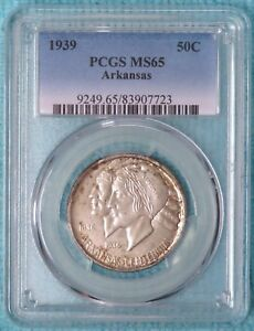 1939 P MS 65 ARKANSAS CENTENNIAL EARLY COMMEMORATIVE SILVER HALF 2 104 MINTED