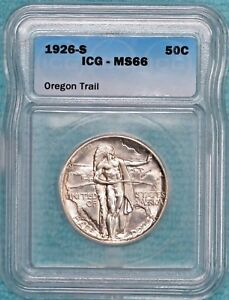 1926 S MS 66 DETAILS OREGON TRAIL COMEM HALF 83 055 MINTED UNCIRCULATED