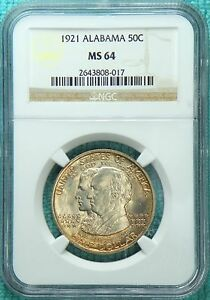 1921 MS 64 ALABAMA CENTENNIAL EARLY COMMEMORATIVE SILVER HALF ONLY 49 038 MINTED
