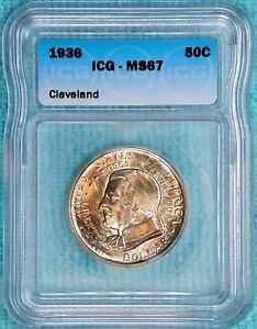 1936 MS67 CLEVELAND GREAT LAKES EXPO CLASSIC COMMEMORATIVE HALF 50 030 MINTED