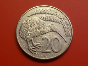 NEW ZEALAND 20 CENTS 1986 KIWI BIRD