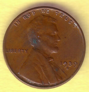LINCOLN CENT LY FINE  1939S
