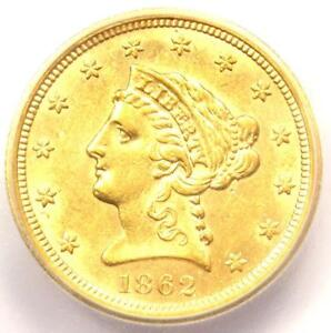 1862 LIBERTY GOLD QUARTER EAGLE $2.50 COIN   CERTIFIED ICG MS62   $5 700 VALUE