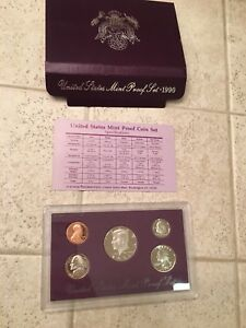 1990 UNITED STATES MINT 5 COIN PROOF SET IN ORIGINAL GOVERNMENT PACKAGING & COA