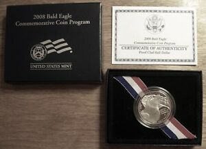 2008 S BALD EAGLE COMMEMORATIVE HALF DOLLAR PROOF COIN IN MINT BOX WITH COA