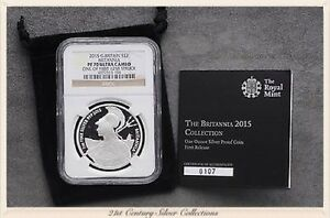 2015 GREAT BRITAIN 1 OZ SILVER 2 BRITANNIA   NGC PF70 ONE OF FIRST 1250 STRUCK