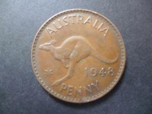 AUSTRALIA ONE PENNY COIN 1948 IN GOOD USED CONDITION BRONZE FEATURES KANGAROO