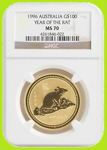 Click now to see the BUY IT NOW Price! 1996 CHINESE LUNAR YEAR OF THE RAT NGC MS 70 AUSTRALIA 1 OZ 9999 GOLD