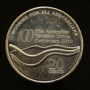 AUSTRALIA  20 CENTS 2010  TAXATION OFFICE . KM1513 UNC COMMEMORATIVE COIN.