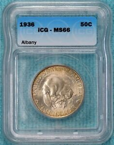 1936 MS 66 ALBANY NEW YORK CHARTER CLASSIC COMMEMORATIVE HALF 17 671 MINTED
