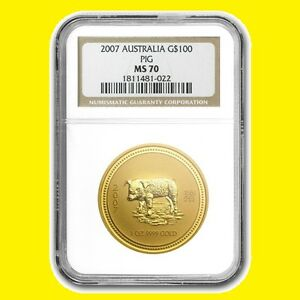 Click now to see the BUY IT NOW Price! 2007 CHINESE LUNAR YEAR OF THE PIG NGC MS 70 AUSTRALIA 1 OZ 9999 GOLD