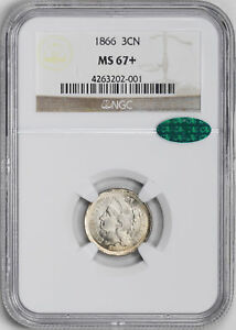 Click now to see the BUY IT NOW Price! 1866 NICKEL 3CN NGC MS 67
