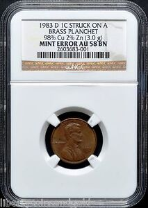 Click now to see the BUY IT NOW Price! 1983 D COPPER PENNY NGC AU 58 BN ULTRA  TRANSITIONAL ERROR   ONLY 2 KNOWN