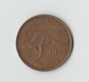 AUSTRALIA COIN   ONE PENNY 1943/GEORGE VI/VF/Y DOT