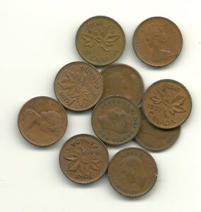 PICK 10  CANADIAN SMALL CENTS FROM LIST BELOW