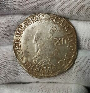 CHARLES I SHILLING MM. TUN 1636 8 TOWER MINT HAMMERED SILVER