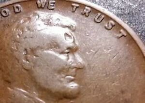 ERROR COIN  HOLE IN LINCOLNS FOR HEAD  1927 WHEAT 1 CENT PENNY COIN    LOT B161