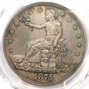1875 PROOF TRADE SILVER DOLLAR T$1   CERTIFIED PCGS PROOF AU DETAILS  PR/PF
