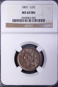 1851 BRAIDED HAIR HALF CENT NGC MS63 BN   NICE LUSTER & COLOR   LOT DCIO