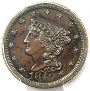 1849 BRAIDED HAIR HALF CENT 1/2C   PCGS UNCIRCULATED DETAILS  BU MS UNC