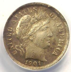 1901 S BARBER DIME 10C COIN   CERTIFIED ANACS XF40 DETAILS  EF40     DATE