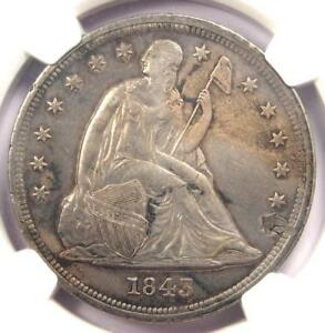 1843 SEATED LIBERTY SILVER DOLLAR $1   NGC AU DETAILS    EARLY DATE COIN